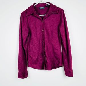 New York & company suede maroon button up blouse S